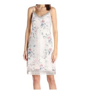 Tahari Floral Fringe Trim Sleeveless Dress